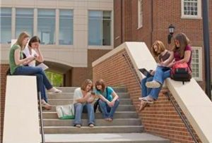 college girls on stairs