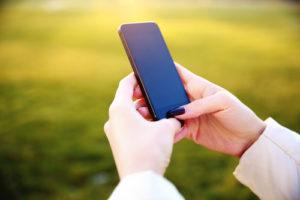 woman sending a text