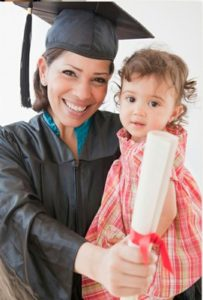 graduating mom and baby