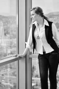 young woman looking and waiting on window