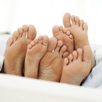 Children and parents feet